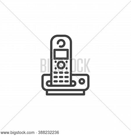 Radio Telephone Line Icon. Linear Style Sign For Mobile Concept And Web Design. Cordless Landline Ph