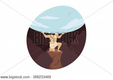 Mythology, Greece, Olympus, God, Religion Concept. Titan Giant Olympian Deity Atlas Condemned For Ho