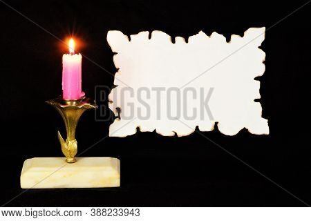 A Vintage Candle Lights Up The Canvas For Text Lettering Of A Literary And Significant Event, Creati