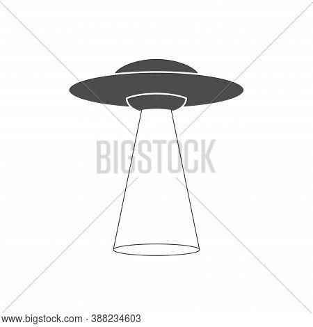 Ufo Icon Alien Spaceship Vector White Background