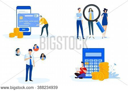 Set Of People Concept Illustrations. Vector Illustrations Of M-commerce, Online Payment, E-banking,