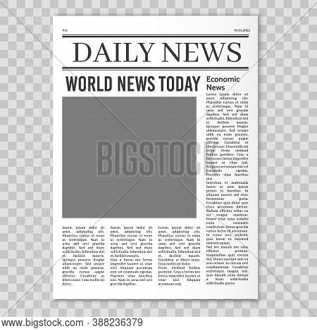 Newspaper Pages Template. News Paper Headline Mockup. Tabloid Journal Simple Background. Newsprint M