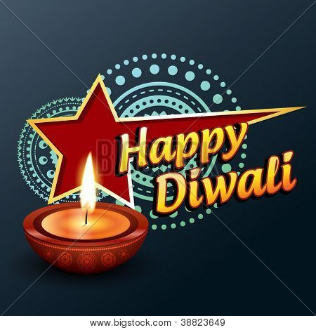 beautiful happy diwali greeting vector background poster