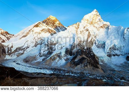 Evening Colored View Of Mount Everest And Mount Nuptse From Kala Patthar, Khumbu Valley, Solukhumbu,