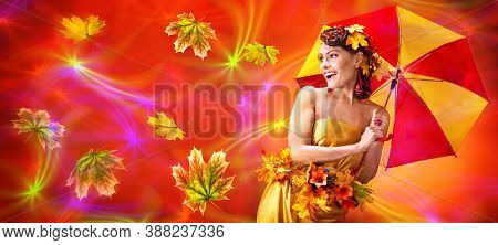 Autumn sale umbrella banners leaves background with beautiful woman. Fashion dream in red fall color outside.