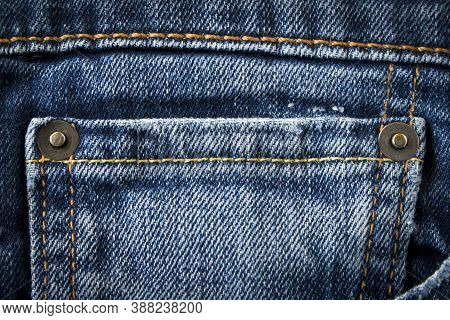 Denim Texture. Seam On Jeans. Close Up. Selective Focus