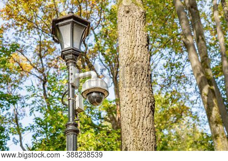 Small Outdoor Security Camera On A Lamppost