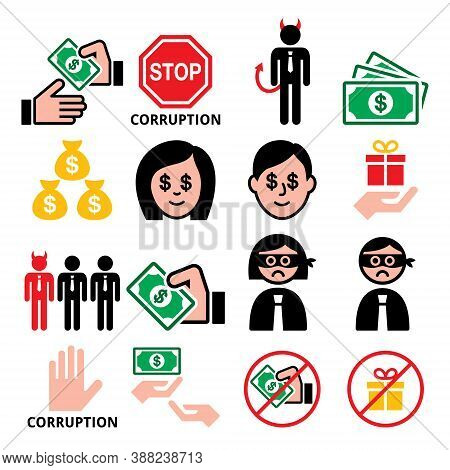 Corruption, No Bribes And Presents, Corrupted Businessmen, People Vector Icons Set