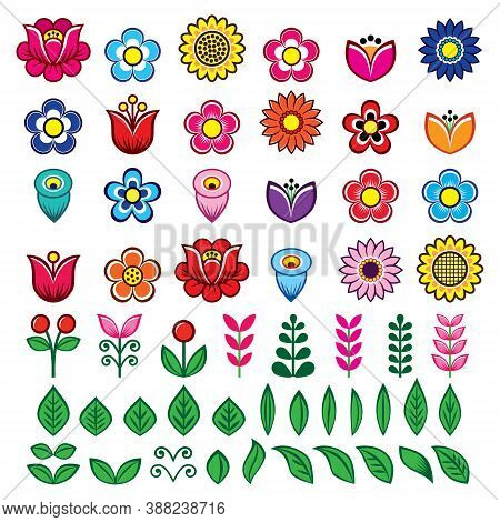 Folk Flowers And Leaves Big Vector Design Set, Floral Retro Graphic Elements Inspired By Polish Folk