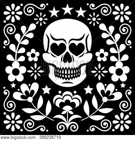 Halloween, Skull, Sugar Skull, Day Of The Dead, Skull, Mexical Skull And Flowers Vector Design, Whit