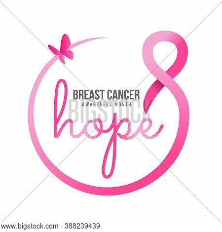 Breast Cancer Awareness Month - Hope Text In Pink Ribbon Circle Frame And Butterfly Banner Vector De
