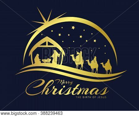 Merry Christmas The Birth Of Jesus Banner With Gold Nativity Of Jesus Scene And Three Wise Men Go Fo