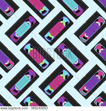 Pattern Of Vhs Videotape Isolated On Blue Background. Vector Illustration.