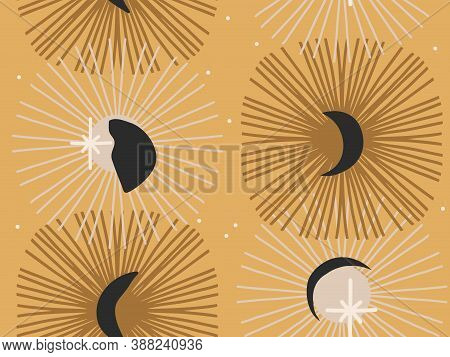 Hand Drawn Vector Abstract Flat Stock Graphic Icon Illustration Sketch Seamless Pattern With Celesti