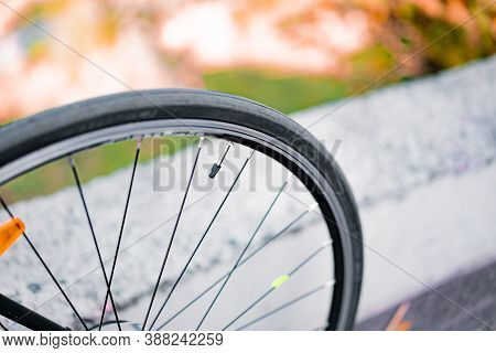 Thin Road Bike Wheel With Iron Valve Tube With A Plastic Cap. Spokes. Bicycle Rim. Rubber. Tire. Tra