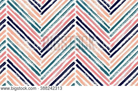 Scribble Zig Zag Fashion Print Vector Seamless Pattern. Paint Brush Stroke Geometric Stripes. Hand D