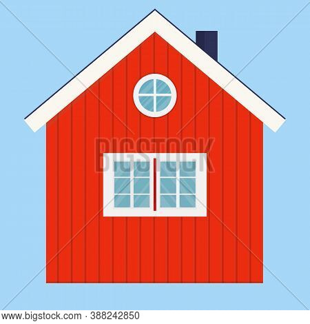 Vector Illustration Of Typical Norwegian Wooden House. Red Rural House With A Flue And Windows. Log