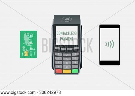 Nfc Tap Card Payment Contactless Terminal Vector Illustration