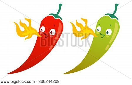 Vector Set Illustration Of A Spicy Chilli Peppers With Flame. Cartoon Red Chilli Pepper With Flame F