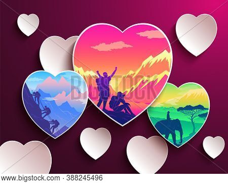 People Love Traveling. Heart Shapes With Silhouettes Of Tourists. People Hiking At Mountain. Travele