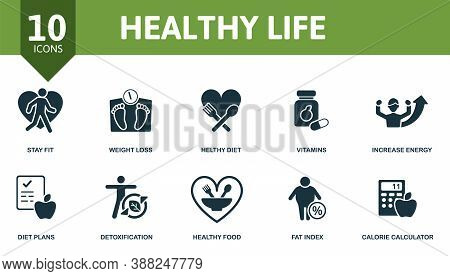 Healthy Lifes Icon Set. Collection Contain Vitamins, Weight Loss, Increase Energy, Healthy Diet And