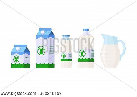 Set Of Milk Icons In Different Packages: Carton, Glass And Plastic Bottle, Jug Isolated On White Bac