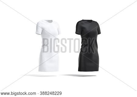 Blank Black And White Cloth Dress Mockup Set, Side View, 3d Rendering. Empty Midi Textile Gown Or Ts