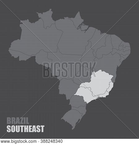 The Brazil Map With The Highlighted Southeast Region