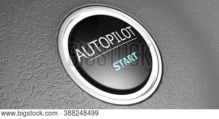 Autopilot Button With Metal Ring, 3d Rendering