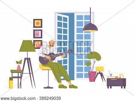 Male Guitarist Training To Play A Guitar. Home Cosy Interior Scene About Love To The Music, Educatio