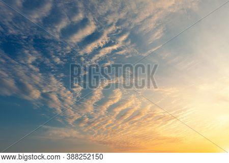 Dramatic Colorful Red Purple To Blue Sunset Or Sunrise Sky Landscape. Natural Beautiful Cloudscape D