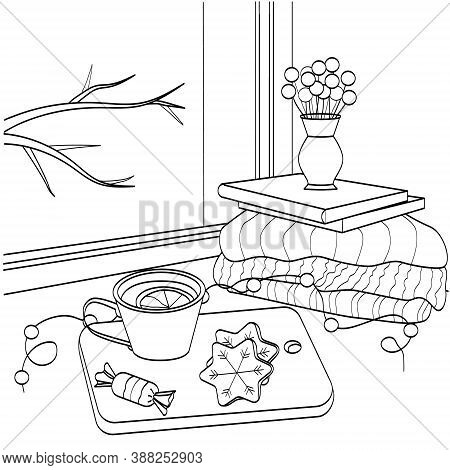A Cup Of Tea And Cookies On The Windowsill. Black Outline, Silhouette, Sketch Of A Winter Still Life
