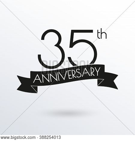 35 Years Anniversary Logo With Ribbon. 35th Anniversary Celebration Label. Design Element For Birthd