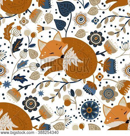 Nordic Scandinavian Fox Animal Seamless Vector Folk Pattern. Ornate Woodland Detailed Cartoon Wallpa