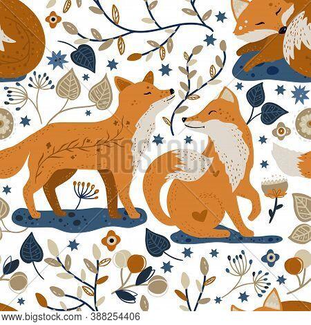 Nordic Scandinavian Fox Couple In Love Animal Seamless Vector Folk Pattern. Ornate Woodland Detailed