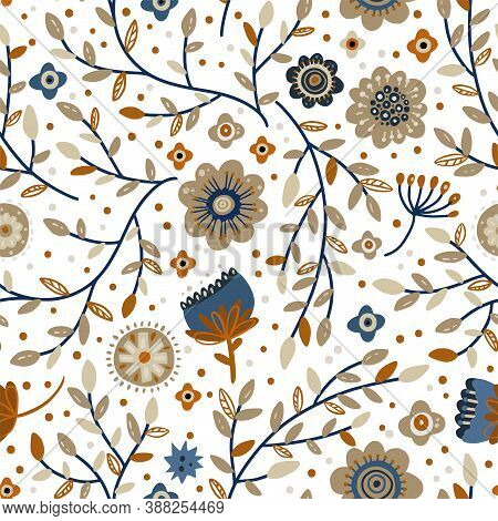 Nordic Scandinavian Seamless Vector Detailed Pattern. Ornate Illustration Wallpaper On A White Backg