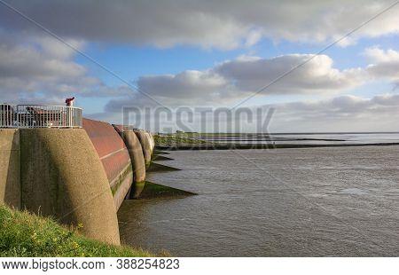 Eidersperrwerk Flood Barrier At Eider River On Eiderstedt Peninsula,north Sea,north Frisia,germany