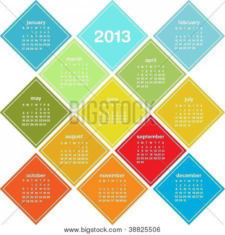 Calendar for 2013 in seasonal colors, weeks start on Sunday, raster version