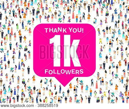 Thank You Followers Peoples, 1k Online Social Group, Happy Banner Celebrate, Vector