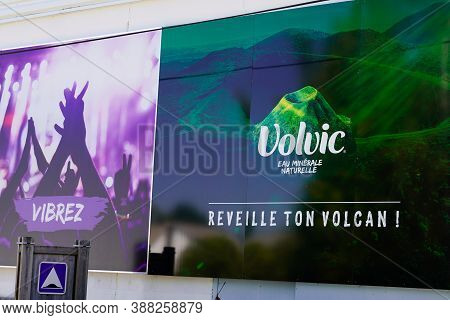 Volvic , Auvergne / France - 09 15 2020 : Volvic Sign Text And Logo On Headquarter Entrance Of Indus