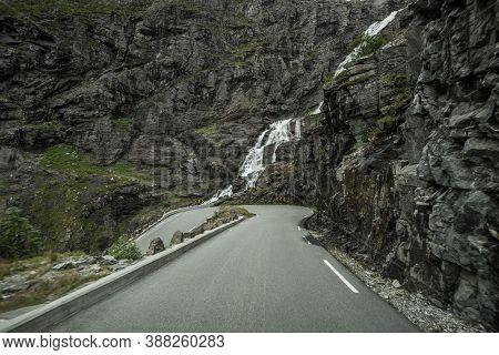 Trollstigen Scenic Road With Stigfossen Waterfalls. Norwegian Top Tourist Destination.