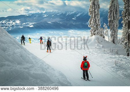 Stunning Snow Covered Trees And Winter Scenery. Active Skiers Skiing Downhill In Poiana Brasov Ski R