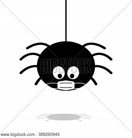 Halloween Spider In Face Mask Vector. Black Coronovirus Quarantine On White Background. Danger Insec