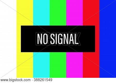 No Tv Signal Screen. Color Test Vector. Television Broken Background. Retro Technical Bars. Malfunct