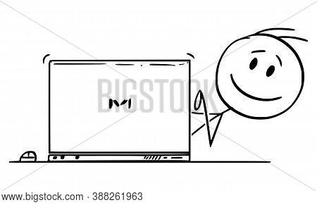 Cartoon Stick Figure Drawing Conceptual Illustration Of Smiling Happy Man, Office Worker Or Business