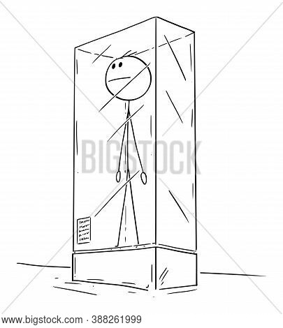 Cartoon Stick Figure Drawing Conceptual Illustration Of Extinct Man Or Male Human Being Exhibited In