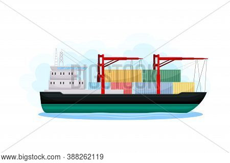 Cargo Ship Or Freighter As Water Transport Vector Illustration