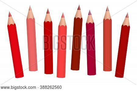 Red Pencils, Colored Crayons - Short Reddish Pencils Loosely Arranged, Different Reds - Isolated Vec