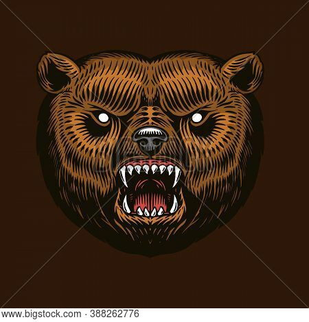 Grizzly Brown Bear. Screaming Mad Animal For Tattoo Or Label. Roaring Beast. Engraved Hand Drawn Lin