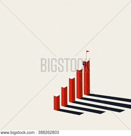 Business Ambition And Goals Vector Concept. Symbol Of Growth, Success, Completing Objectives And Mot